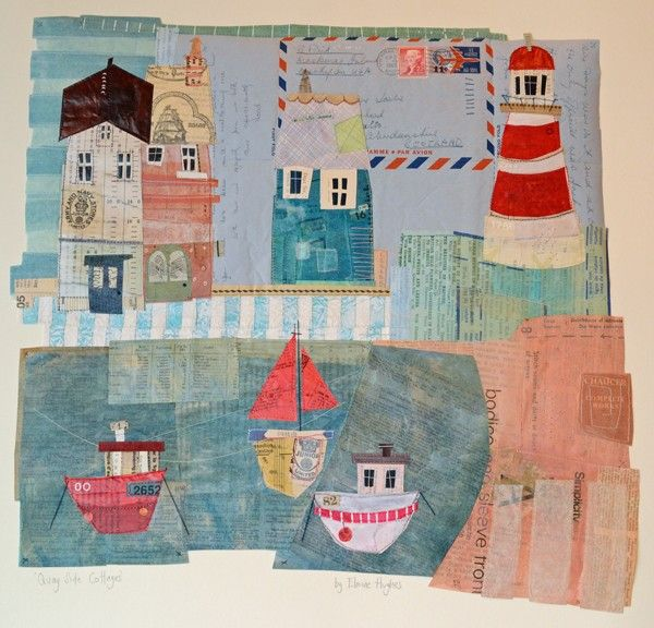 Quay Side Cottages by Elaine Hughes - hand and machine stitched paper collages incorporating drawing, textiles and vintage ephemera #Paper/Textiles