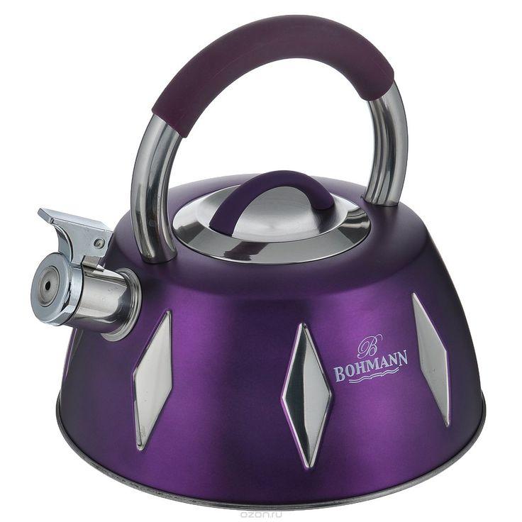 Чайник Bohmann со свистком, цвет: фиолетовый, 3,5 л. BH - 9948BH - 9948 фиолетовыйЧайник Bohmann изготовлен из высококачественной нержавеющей стали с цветным матовым покрытием. Нержавеющая сталь - материал, из которого в течение нескольких десятилетий во всем мире производятся столовые приборы, кухонные инструменты и различные аксессуары. Этот материал обладает высокой стойкостью к коррозии и кислотам. Прочность, долговечность и надежность этого материала, а также первоклассная обработка…