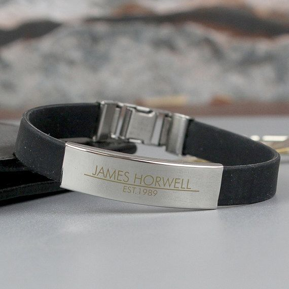 Personalised Stainless Steel Bracelet, Personalised Mens Bracelet, Engraved Rubber Cuff, Engraved ID Bracelet, Personalized Men's Bracelet