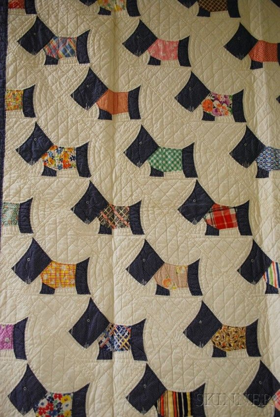 Hand-stitched Pieced Cotton Scottie Dog Pattern Quilt