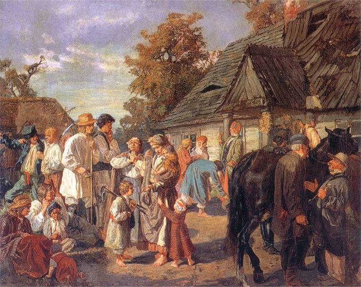 Józef Chełmoński......Wypłata robocizny (Sobota na folwarku) 1869. Olej na płótnie. 53 x 67 cm.  Muzeum Narodowe, Warszawa