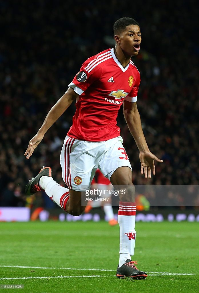 Marcus Rashford of Manchester United celebrates scoring his team's second goal during the UEFA Europa League Round of 32 second leg match between Manchester United and FC Midtjylland at Old Trafford on February 25, 2016 in Manchester, United Kingdom.