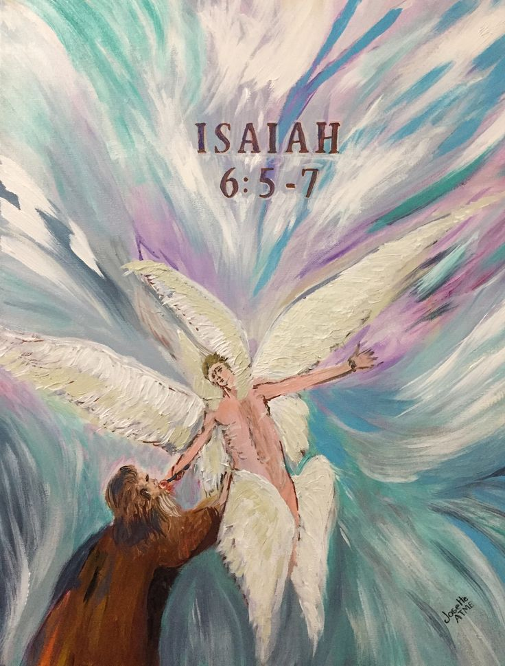 Spiritual Christian Biblical Prohetic Painting.-Seraphim And Prophet Isaiah By Josette Atme. Size: 24''X20'' Inches. by AtmeArtStudio on Etsy