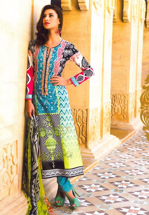 Colourful Combination Of Different Designs Embroidery  #pakistani #suits #collection #maria  Buy at : http://www.alicolors.com