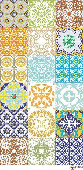 Kit Adesivo Azulejos Antigos. Frete Grátis! - Direta Design Adesivos & Decoração