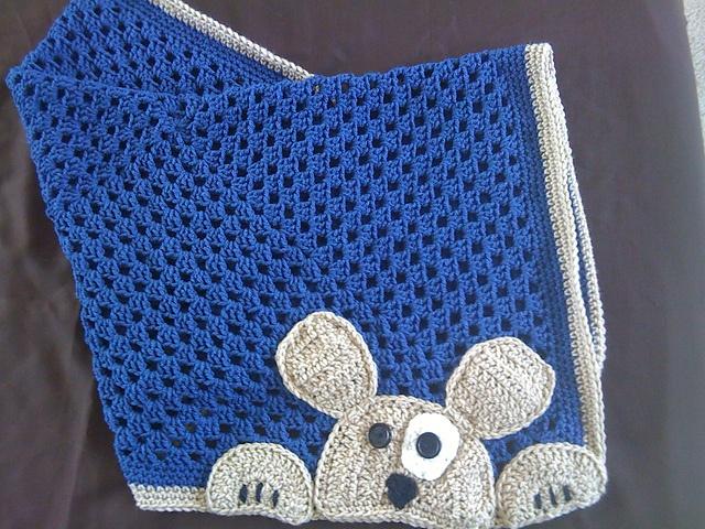 Ravelry: Peek-A-Boo puppy blanket and bib set pattern by Marissa Arenas