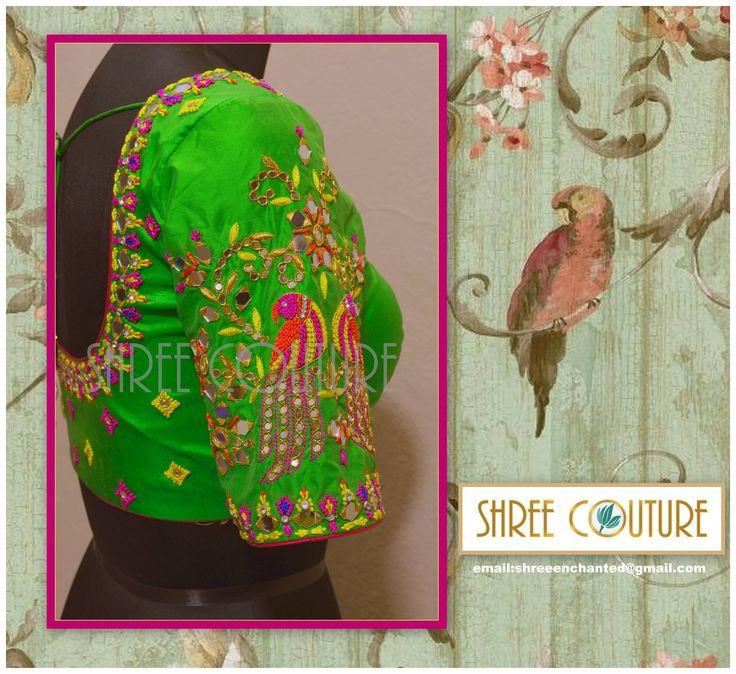 parrot design blouse