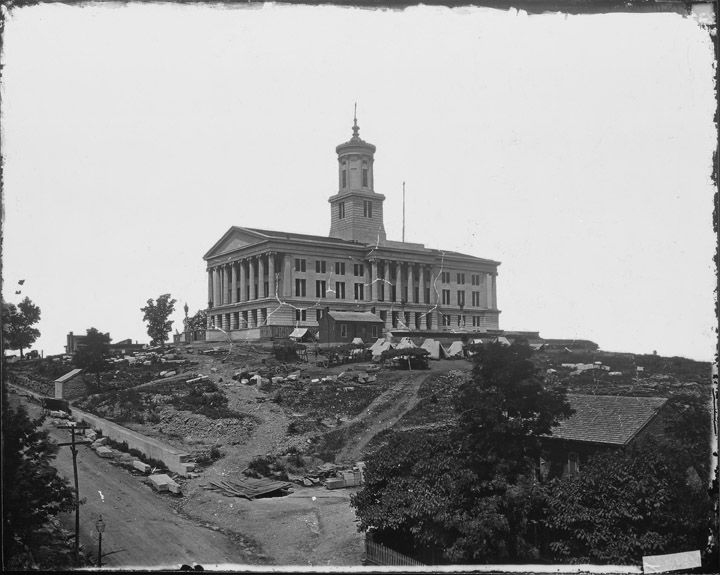 """March 22, 1863: James mentions the effects of """"a large army of men & mules & wagons"""" on the grounds of his camp at the capitol building in Nashville. His camp probably looked similar to this one in Nashville a year later. The State House, Nashville, Tenn., 1864. National Archives photo no. 111-B-4732. Missouri History Museum"""