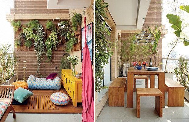 É comum que os prédios novos tenham varandas grandes. Criar espaços para receber ou relaxar são alguns dos usos possíveis, como no projeto da arquiteta Gabriela Marques.