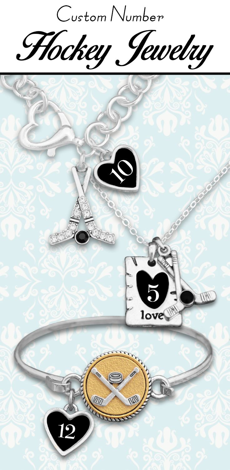 Hockey jewelry with your favorite player's jersey number! - $9.98 - $12.98!  - You can also find custom initial and custom loved one jewelry in our Hockey Collection!
