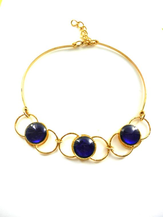 Fascinating Art Glass cobalt blue and gold by RAKcreations on Etsy