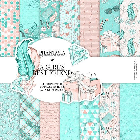 Diamonds Gold Watercolor Digital Paper Pack Fashion Girl