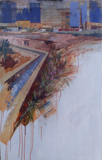 """Urbana Rustica XXXII -Foios Valencia, Collage + Acrílico, 110 x 70 cm. 4º Premio """"Adquisición - Alcaide Grau"""" en el XVII Concurso Nacional de Pintura Rápida de Foios Valencia. 2016"""