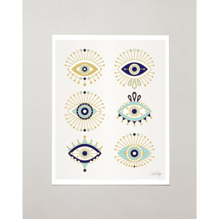 "PRODUCTS :: LIVING AND DESIGN :: Accessories and Decorations :: Prints :: Evil Eye Collection – Signed Digital Drawing Print by CatCoq. Artwork Printed Standard-Size 8.5""x11"". All-Seeing Eye Vector Wall Art."