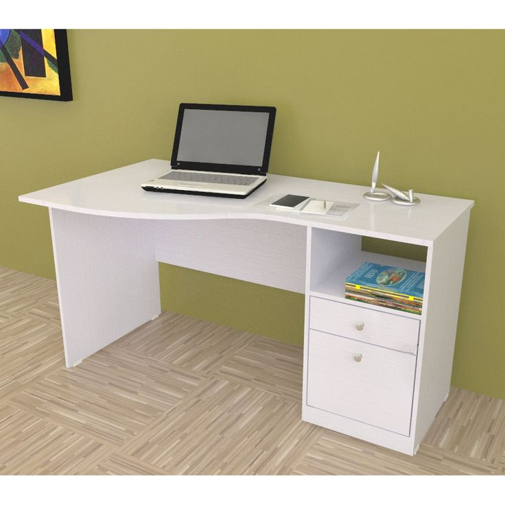 Add stylish flair to your workspace with this pretty modern white office desk. This desk offers lots of room for holding your computer and other peripherals. It is equipped with two drawers for holding office supplies and a cubby for added storage.