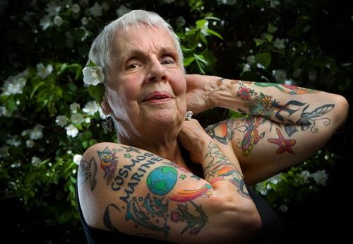 "Chicago resident and grandmother Helen Lambin likes it when young people stop her on the street to give her compliments on her tattoos, or when they simply yell out, ""Nice ink!"". She enjoys the fact that her tattoos have helped create connections with strangers, of different generations and cultures. The idea for getting a tattoo came to her three years ago when she was feeling down about growing older. One led to another, and then another.  Now that's some awesome shit!"