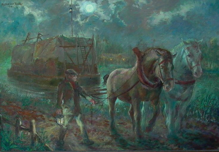 Paarden die een schip voorttrekken.