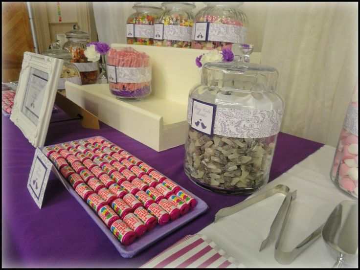 Purple sweet table for a wedding