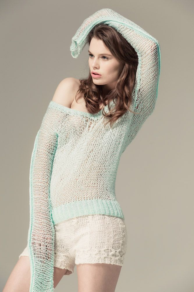 Silk Mesh Top and Linen Cable Shorts by Elka Knitwear