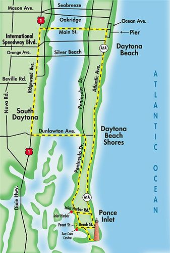 Map of Daytona Beach.