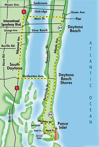 Map of Daytona Beach.