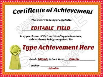Awards Certificates of Achievement - EDITABLE | Room ...
