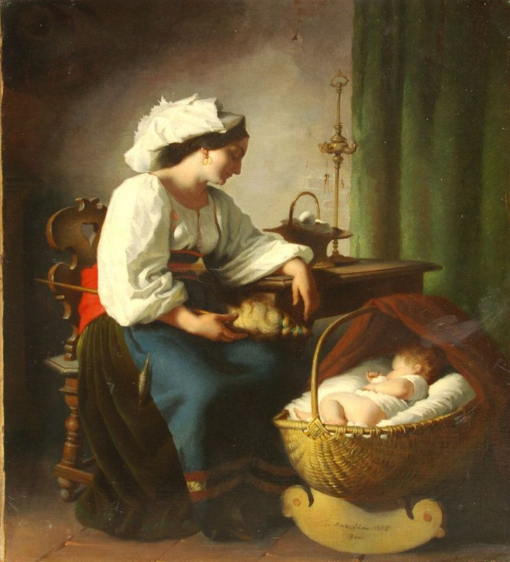 Portrait of Mother & Child in Cradle:Giuseppe Mazzolini (item #862042, detailed views)