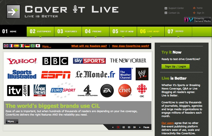 COVERITLIVE: Live Blogging Platform. The world's best live event software, with advanced features to engage and excite your Readers! All at Zero-cost.