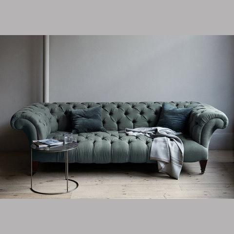 Back living room Seating - canvas - Chesterfield Sofa - Chesterfield, sofa, velvet, green, blue, tufted, mahogany, legs, traditional,