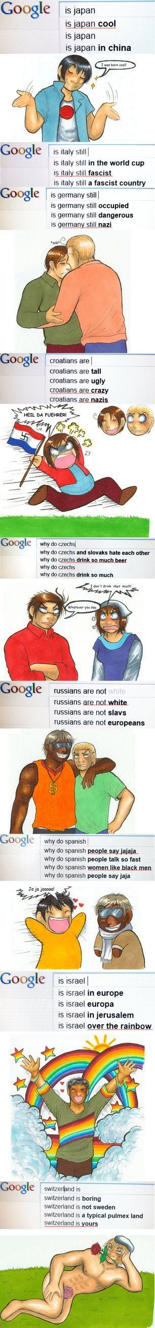 Hetalia Google<--- This is why NO ONE ever wins Google feud<< I expected that from France but Switzerland I thought you were better than this.