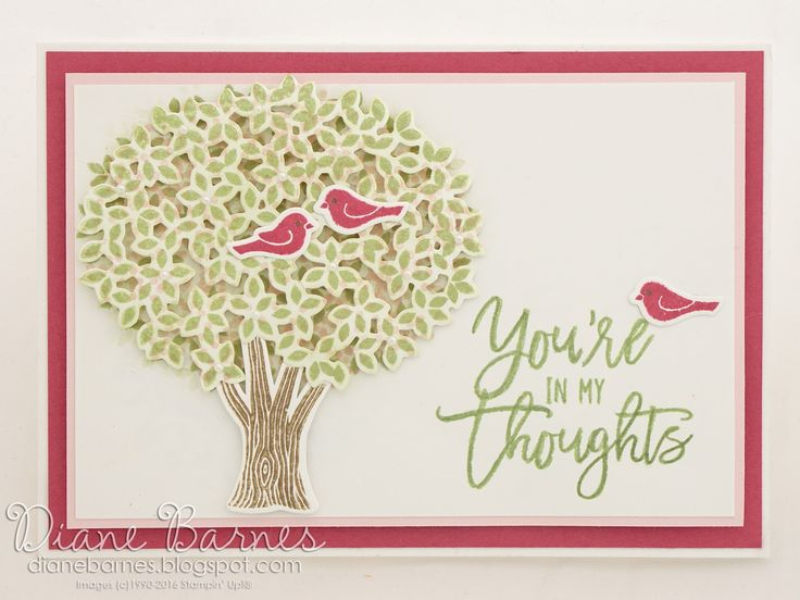 handmade youre in my thoughts card using Stampin' Up Thoughtful Branches bundle…
