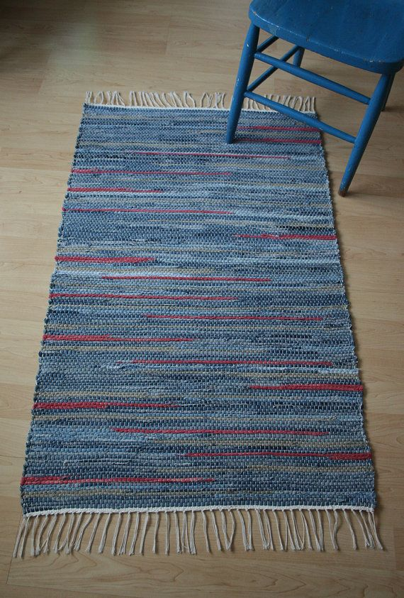 DENIM & RED Hand-woven rug made from recycled by finnishweaver