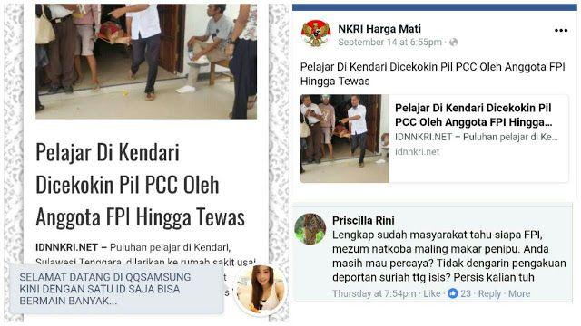 """Sebut FPI Cekoki Pelajar Dengan Pil PCC idnnkri.net Dibully Netizen: Hoax Begini Gak Bakal Diproses  berita di situs idnnkri.net diperkaya dengan konten judi dan hoax  Republik.in Situs hoax idnnkri.net kembali membuat ulah. Situs pendukung Jokowi dan Ahok yang juga terkenal sering mempromosikan judi di halaman websitenya ini membuat berita satir dengan judul yang tidak masuk akal.""""Pelajar Di Kendari Dicekokin Pil PCC Oleh Anggota FPI Hingga Tewas"""" judul yang tertulis di situs idnnkri…"""