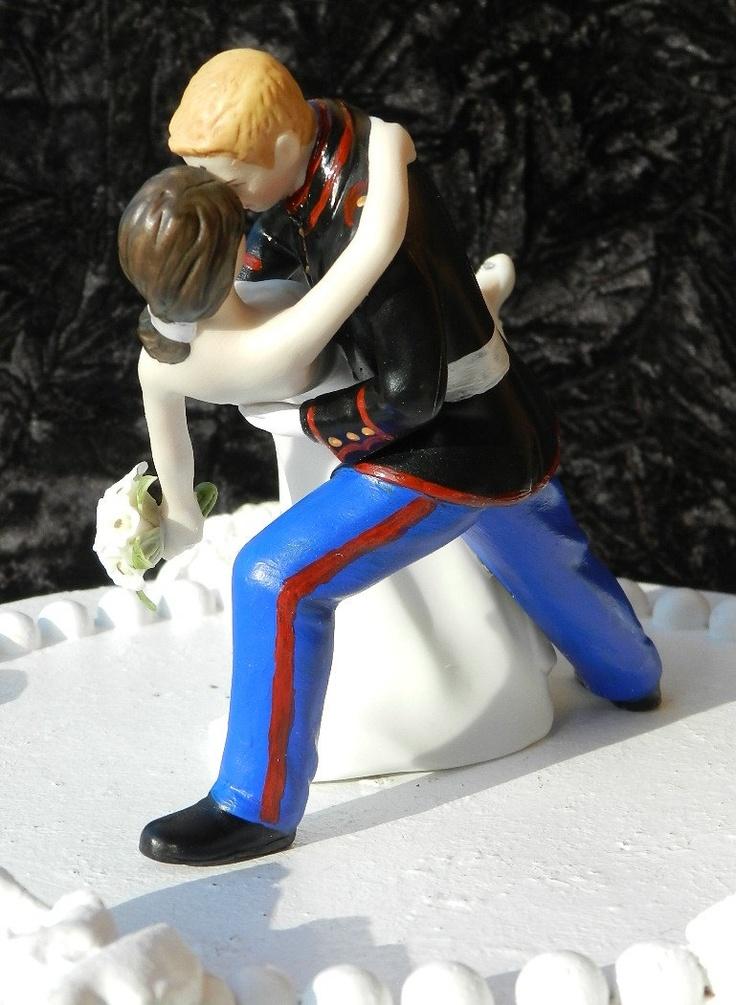 military bride  USMC Marine Corps groom uniform dance dip Wedding Cake Topper. $125,00, via Etsy.