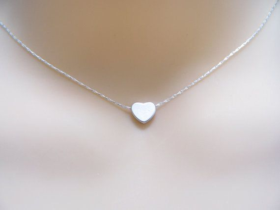 Heart+Necklace+Tiny+silver+heart+necklace+Small+dainty+by+MonyArt,+$19.80