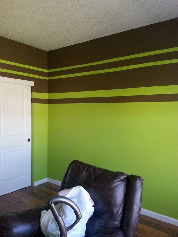 Painting green stripes blue backgrounds and limes Chocolate colour wall paint