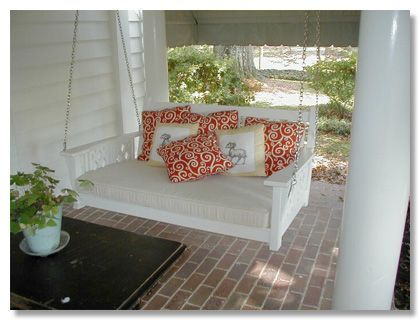 Love the idea of an over sized hanging bench... you could even buy and modify a wooden futon frame for this, with a twin or toddler mattress. (waterproofed of course):