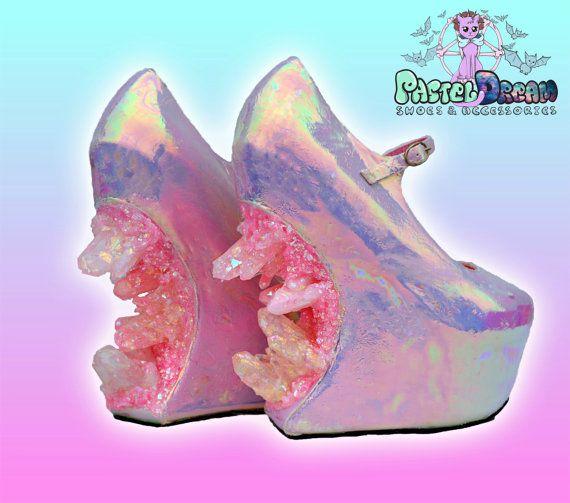 crystallized iridescent custom made heels heel less shoes one of the kind, Pastel Goth, Fairy Kei, Kawaii,cute,harajuku, alternative