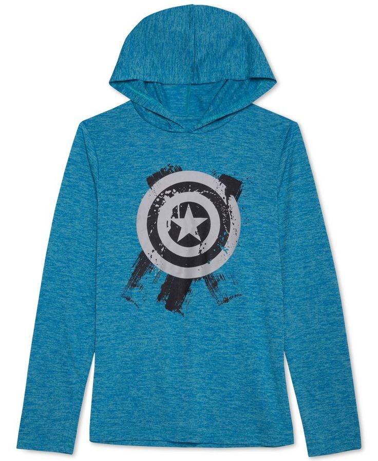 A sleek, slim-fit design makes this perfect for his casual layering with this Captain America graphic hoodie. | Polyester | Machine washable | Imported | Hooded | Long sleeves | Captain America graphi