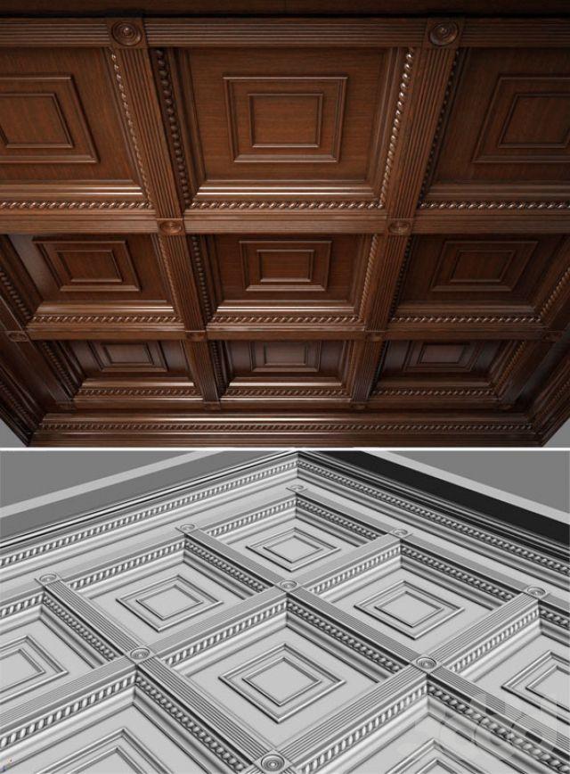 Деревянный потолок. Кессоны