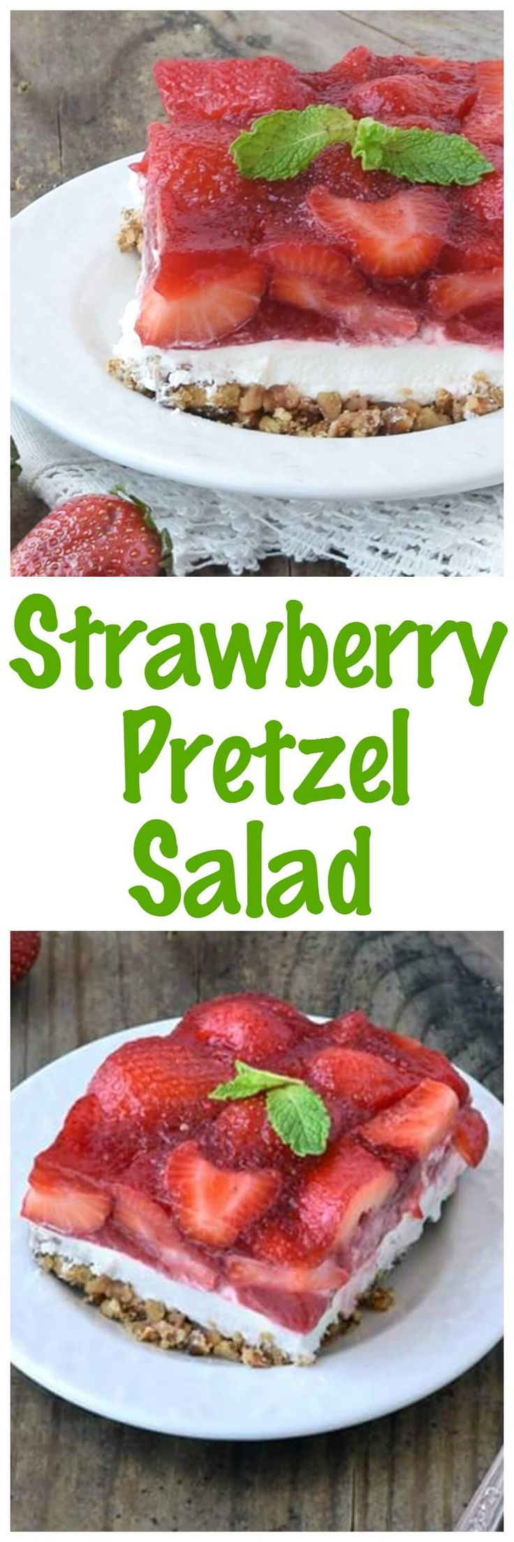 Strawberry Pretzel Salad! This classic recipe is a favorite at all of our gatherings! The best part is that this recipe is even better made a day or two ahead of time!
