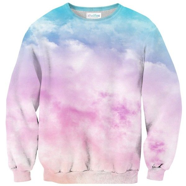 Pastel Clouds Sweater (€53) ❤ liked on Polyvore featuring tops, sweaters, pink fuzzy sweater, print sweater, pink top, patterned sweater and patterned tops
