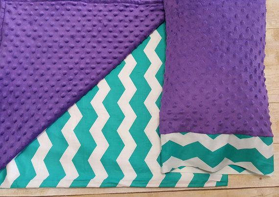 Nap Mat With Pillow & Blanket - Teal Chevron - Purple - Kindermat Cover - Back To School - Pillowcase - Blanket - Minky