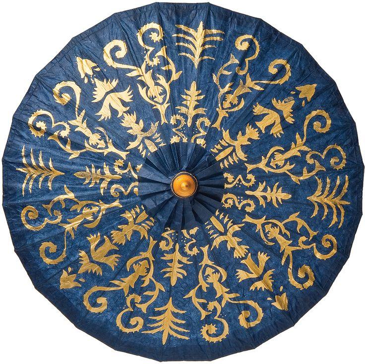 Henna Design Gilded Paper Parasol (28-Inch, Dark Blue) | Luna Bazaar