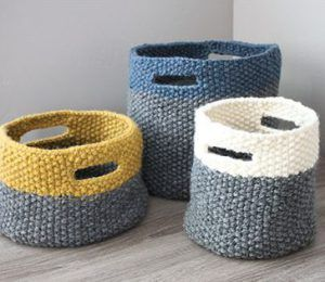 Knitting pattern for Triplet Baskets                                                                                                                                                                                 More