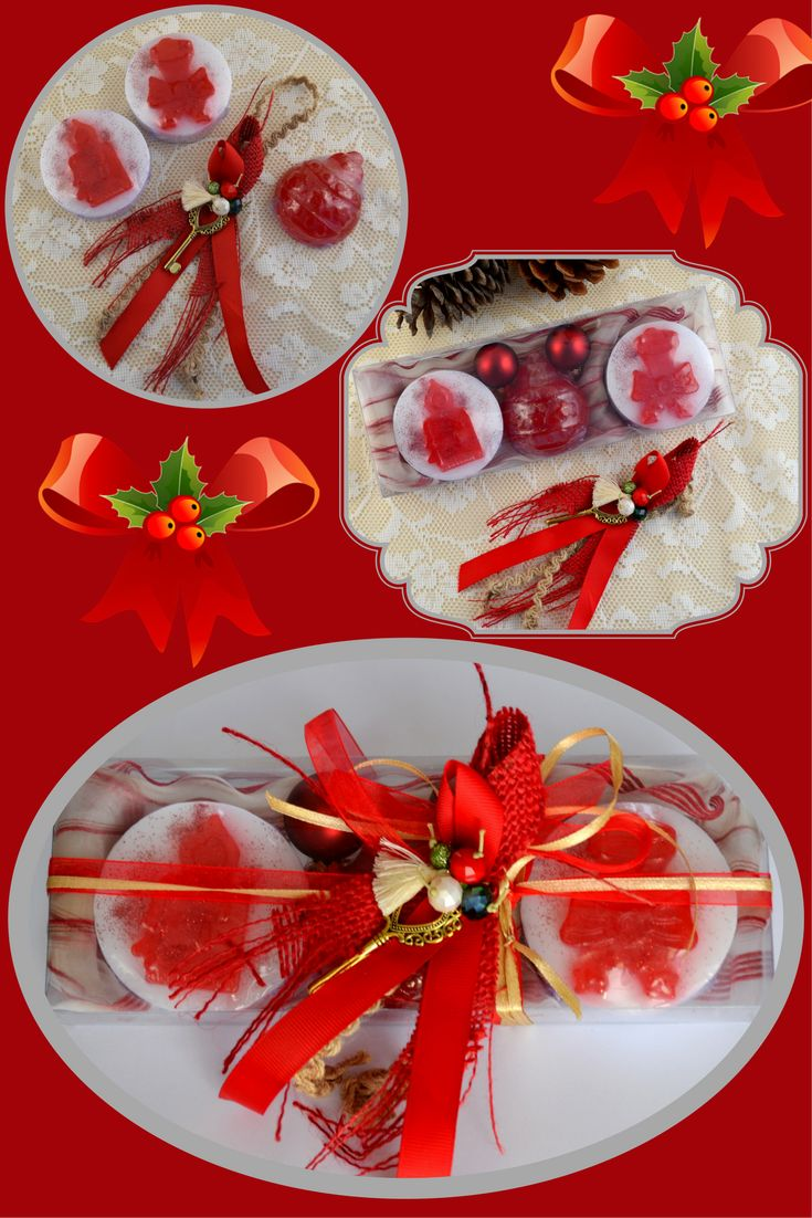 RED Christmas Handmade Gift Set containing three red Christmas figure Luxury Royalty Scented Soaps - raspberry scent and a lovely handmade New Year Charm for Good Luck in the packaging.  Lovely festive scented soaps inspired by Christmas spirit to be provided as a little treat for your holiday guests!  The perfect gift for everyone: glamorous, luxe and useful.c