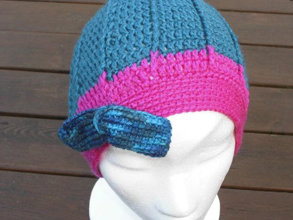 Warm and Soft Hand Crochet Winter Beanie with Bow for Teens and Women, Handmade in Hand Dyed SW Wool.