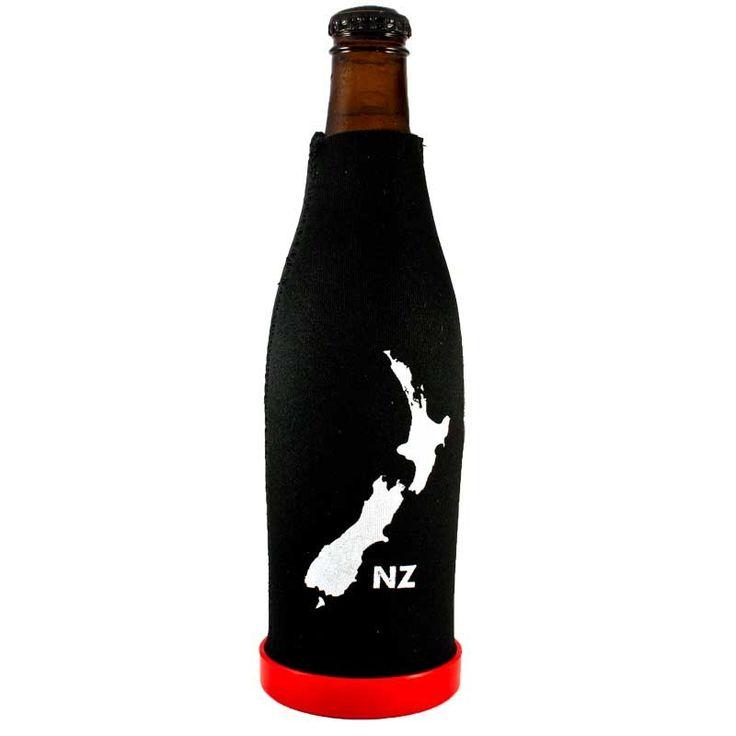 New Zealand Map Beer Bottle Cooler with Bottle Opener