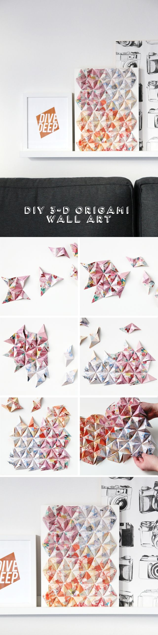 Diy 3D Origami Wall Art.                                                                                                                                                     More