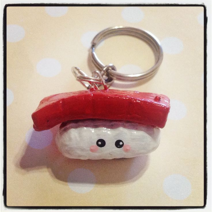 Tuna Sushi Keychain! It can be used to hold your keys, or decorate your bag! It is approx. 3.5cm in length, 1.5cm width and 1.5cm thick.   Please keep out of reach of people who may mistaken this for real food - as it is inedible in every way! ^_^  *** Please remember that this is a hand craf...